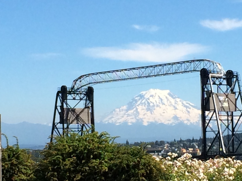 Mount Rainier and drawbridge