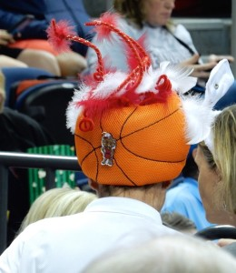 Basketball with red-and-white SC Gamecock