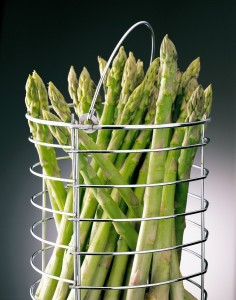 asparagus upright for cooking