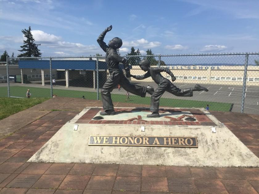 Marvin Klegman statue, Lowell School, Tacoma, WA