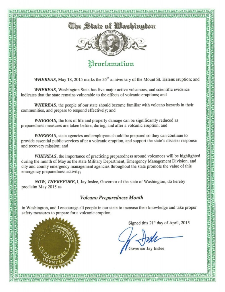 State of Washington Proclamation for Volcano Preparedness Month