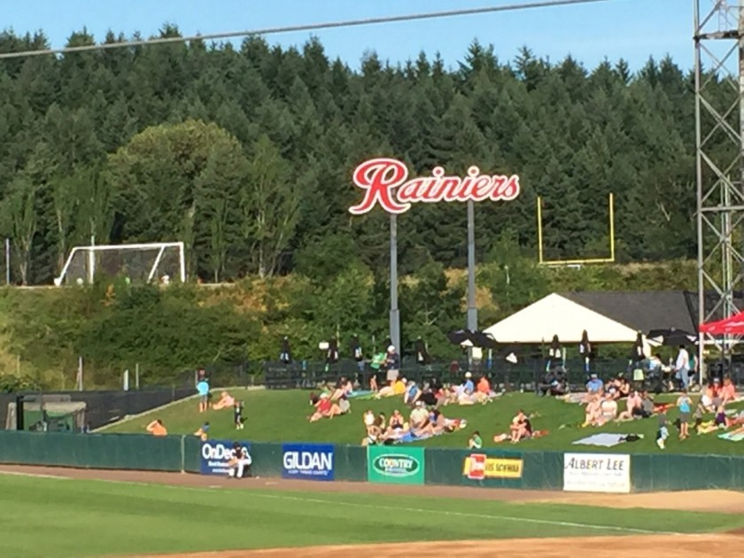 Hill along first base side of Cheney Stadium