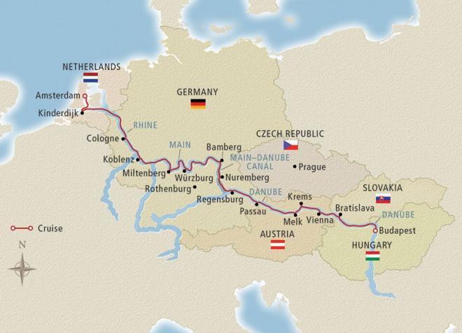 Map of Viking River Cruises: Grand European Tour