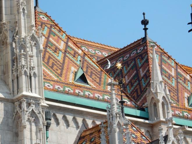 Ceramic tile roof on Matthias Church, Budapest