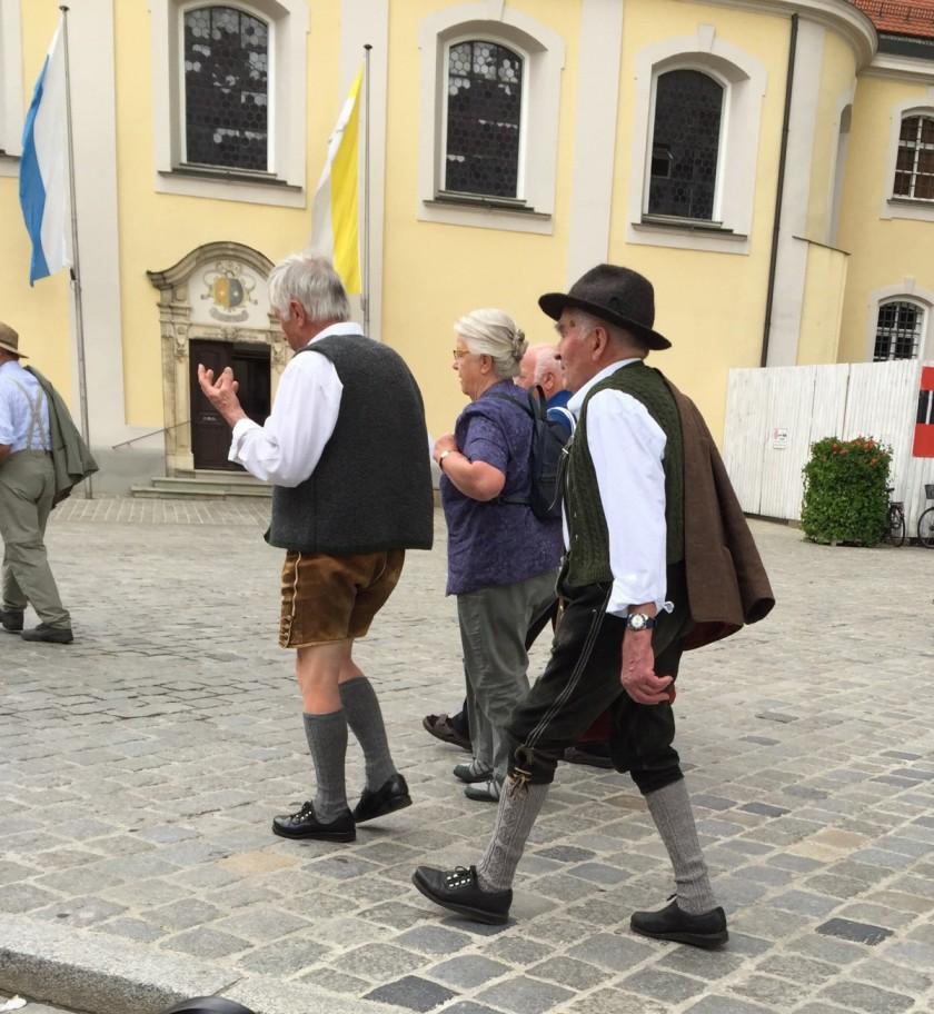 Tourists in Bavarian lederhosen, Regensburg