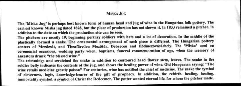 Description of Miska Jug