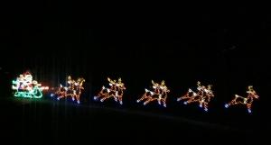 Santa, sleigh, and reindeer