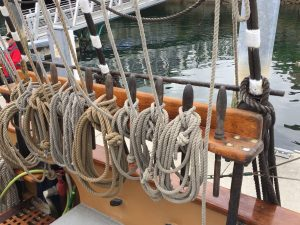 ropes on side of ship