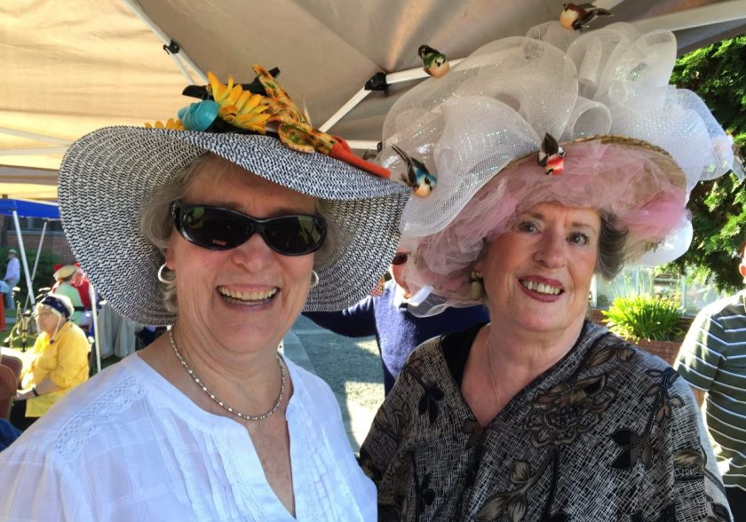 Second- (left) and first-place women's hats