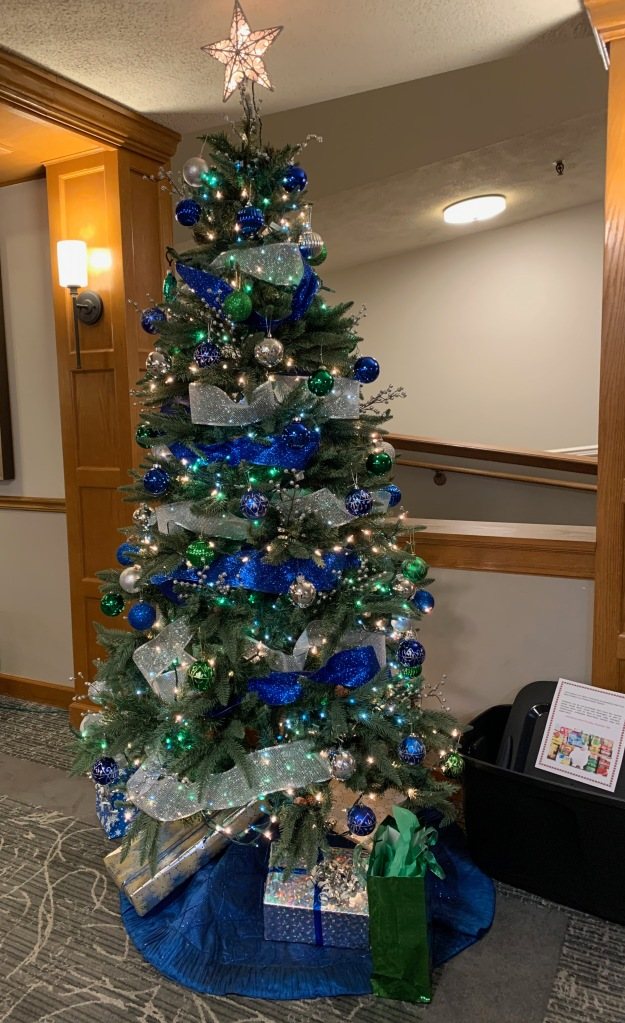 blue & green Seahawks holiday tree