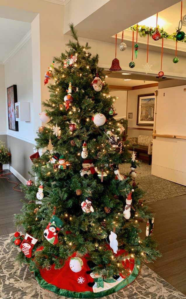 Christmas tree decorated with snowman ornaments
