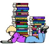 kid with stack of books