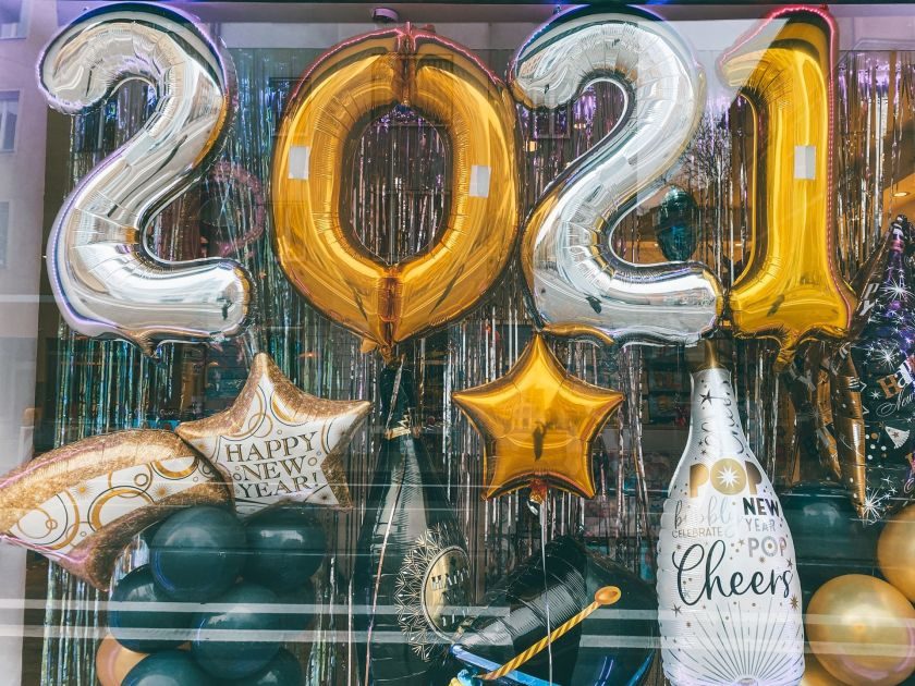 Balloons spelling out Happy New Year 2021
