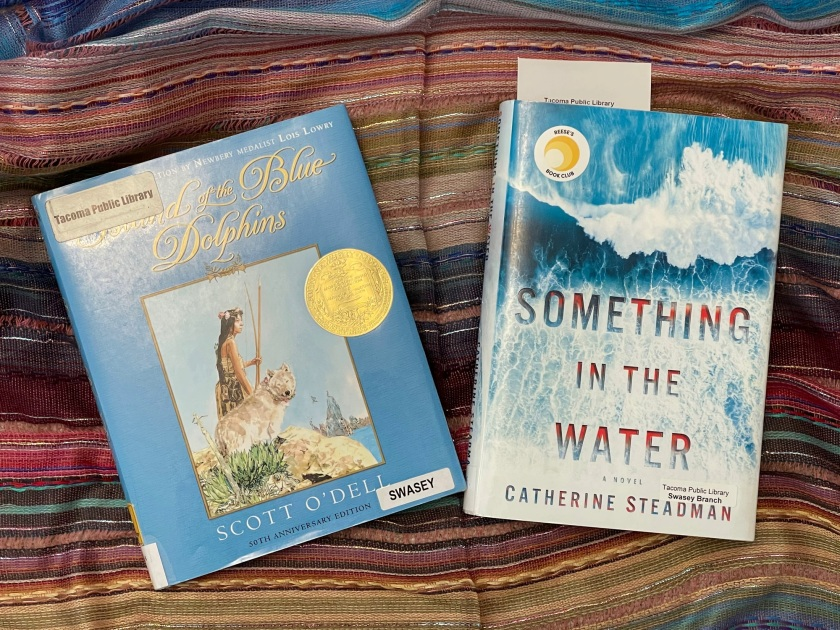 2 books: The Island of the Blue Dolphins and Something in the Water